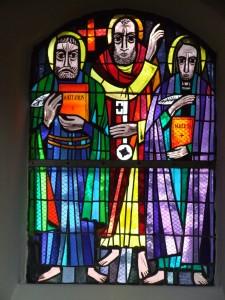 Nordwand vorn: Matthäus und Markus mit Simon Petrus