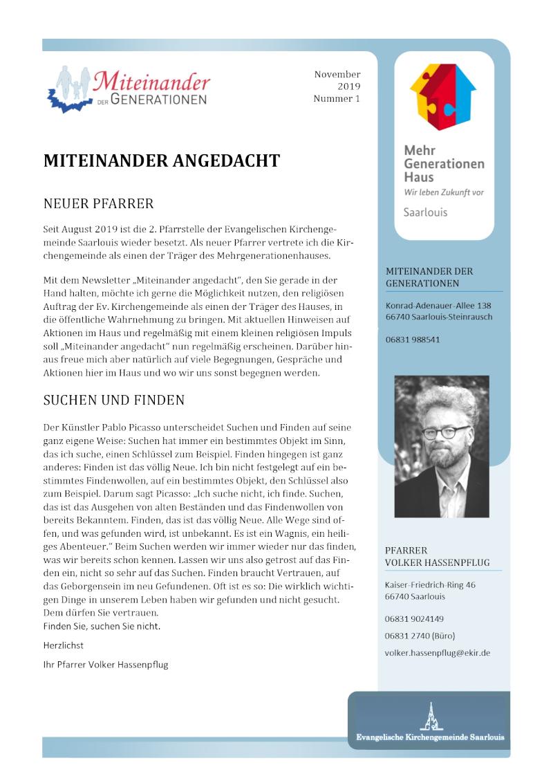 Die aktuelle Ausgabe des MdG-Newsletters